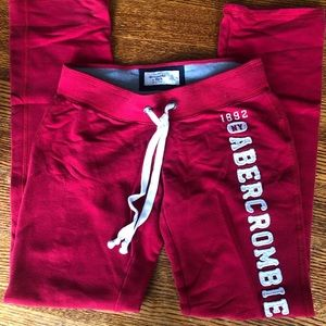 Abercrombie and Fitch red sweatpants, XS